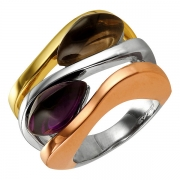 Серебряное кольцо AS с аметистом и кварцем