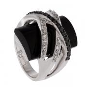 Серебряное кольцо AS с ониксом и фианитами