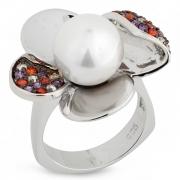 Серебряное кольцо AS с жемчугом и фианитами