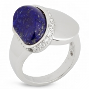 Серебряное кольцо AS c лазуритом и фианитами