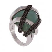 Серебряное кольцо AS с агатом и фианитами