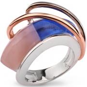 Серебряное кольцо AS с розовым и синим кварцем