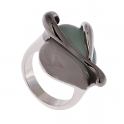 Серебряное кольцо AS с агатом и кварцем