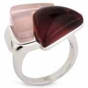 Серебряное кольцо AS c родолитом и розовым кварцем