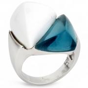 Серебряное кольцо AS c топазом и белым агатом
