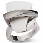 Серебряное кольцо AS с белым агатом