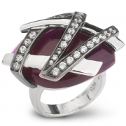 Серебряное кольцо AS с аметистом и фианитами