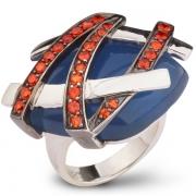 Серебряное кольцо AS с голубым агатом и фианитами