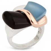 Серебряное кольцо AS с дымчатым кварцем и голубым агатом