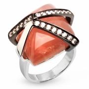 Серебряное кольцо AS с розовым кварцем и фианитами