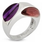 Серебряное кольцо AS с аметистом и родолитом