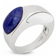 Серебряное кольцо AS лазуритом и белым агатом