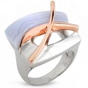 Серебряное кольцо AS c голубым агатом