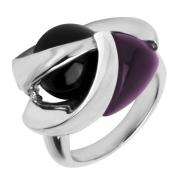 Серебряное кольцо AS с аметистом и ониксом