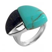 Серебряное кольцо AS с бирюзой и лазуритом