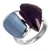 Серебряное кольцо AS с аметистом и голубым агатом