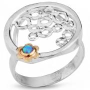 Серебряное кольцо Yaffo с золотом и опалом