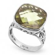 Серебряное кольцо Yaffo с зеленым аметистом