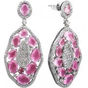 Серьги серебряные с розовым кварцем и фианитами