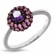 Серебряное кольцо Ombra с аметистом и фианитами