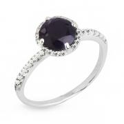 Серебряное кольцо с сапфиром и фианитом