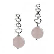 Серебряные серьги Hot Diamonds с бриллиантом и розовым кварцем