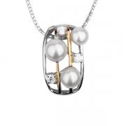 Серебряный кулон De Luna Luxe с жемчугом и фианитами