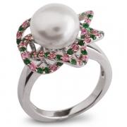 Серебряное кольцо De Luna с жемчугом и фианитом