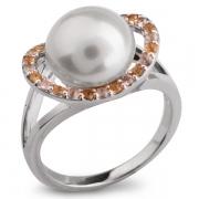 Серебряное кольцо De Luna с жемчугом, цитрином и горным хрусталем