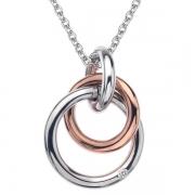 Серебряный кулон Hot Diamonds с бриллиантом и позолотой на цепи. 40-45 см