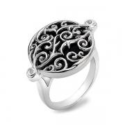 Серебряное кольцо Hot Diamonds с бриллиантами и черным  ониксом
