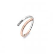 Серебряное кольцо Hot Diamonds с бриллиантом, фианитами и позолотой