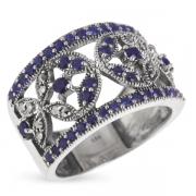 Серебряное кольцо Винтаж с сапфиром и марказитами
