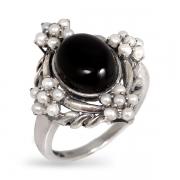 Серебряное кольцо Винтаж с ониксом ,микрожемчугом