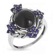 Серебряное кольцо Винтаж с сапфиром  и ониксом
