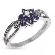 Серебряное кольцо Винтаж с сапфиром ,микрожемчугом и марказитами