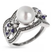 Серебряное кольцо Винтаж с сапфиром ,жемчугом ,микрожемчугом и марказитами