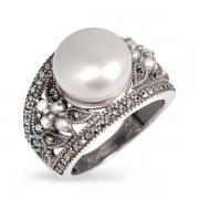 Серебряное кольцо Винтаж с жемчугом ,микрожемчугом и марказитами