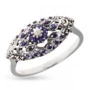 Серебряное кольцо Винтаж с сапфиром,микрожемчугом и марказитами