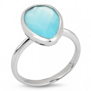 Серебряное кольцо Sandara c аква халцедоном