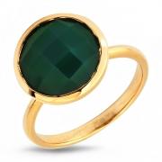 Серебряное кольцо Sandara c ониксом и позолотой
