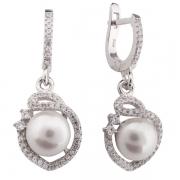 Серебряные серьги De Luna с жемчугом и фианитом