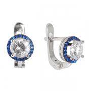 Серебряные серьги Sandara Ice с белыми и синими фианитами
