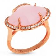Серебряное кольцо Sandara с фианитами и розовым кварцем