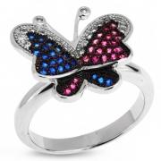 Серебряное кольцо Sandara с фианитами и голубым топазом