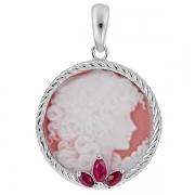 Серебряный кулон Камея из фарфора с рубинами
