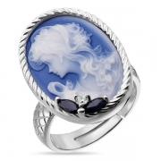 Серебрянок кольцо Камея из фарфора с сапфиром и фианитами