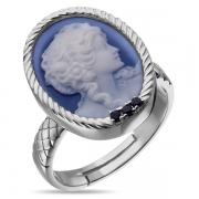 Серебрянок кольцо Камея из фарфора с сапфирами