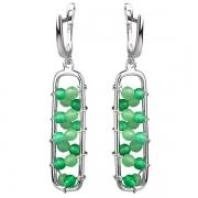 Серебряные серьги Joli с зеленым агатом и жадеитом
