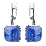 Серебряные серьги Joli с кианитом и синими фианитами